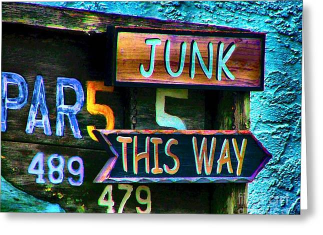 Junk This Way Greeting Card by Julie Dant