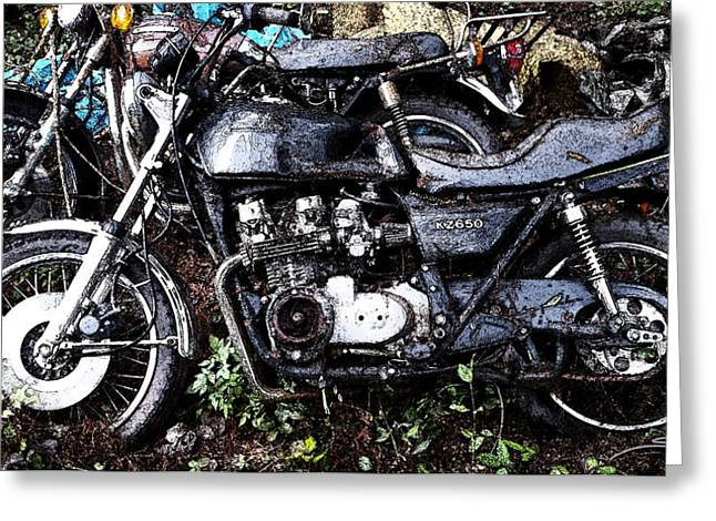 Junkyard Kawasaki Kz650 Greeting Card