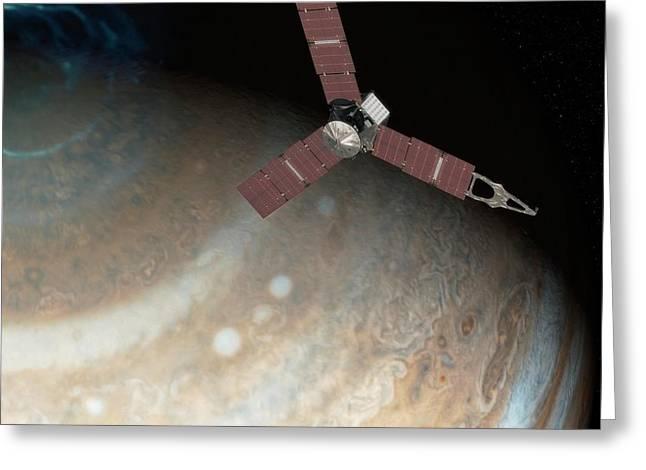 Juno Spacecraft At Jupiter Greeting Card