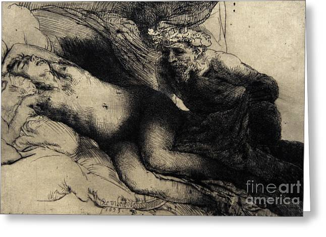 Jupiter And Antiope Greeting Card by Rembrandt