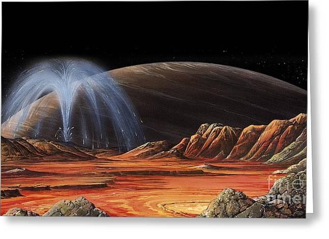 Jupiter From Io, Artwork Greeting Card by Gary Hincks