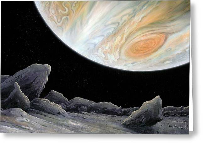 Jupiter From Its Innermost Moon Metis Greeting Card by Richard Bizley
