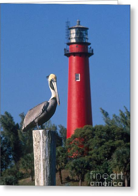 Jupiter Inlet Lighthouse Greeting Card by Bruce Roberts