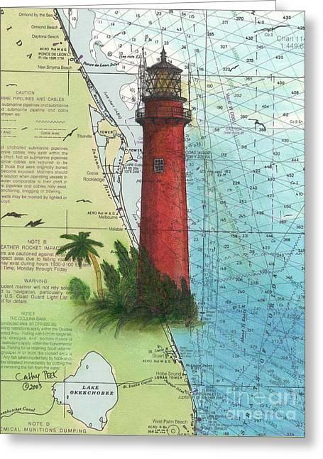 Jupiter Inlet Lighthouse Fl Nautical Chart Map Art Cathy Peek Greeting Card by Cathy Peek