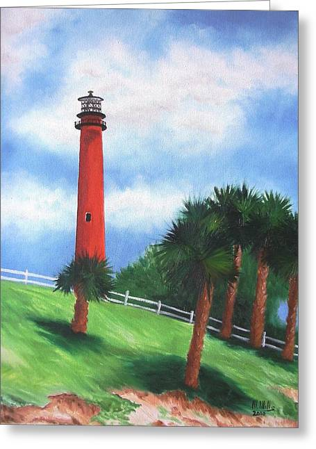 Jupiter Lighthouse And Palms Greeting Card