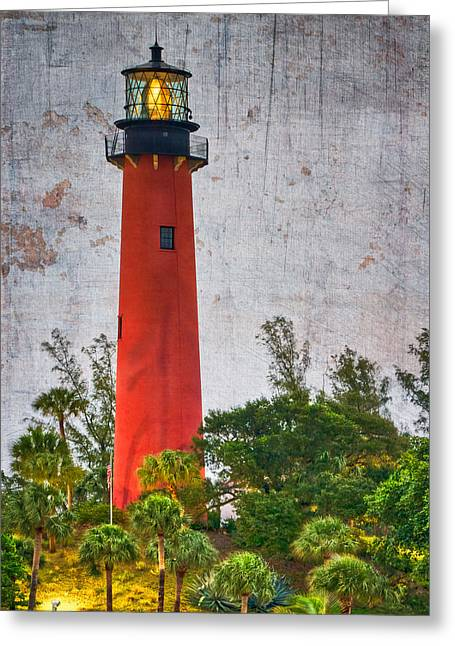 Jupiter Lighthouse Greeting Card by Debra and Dave Vanderlaan