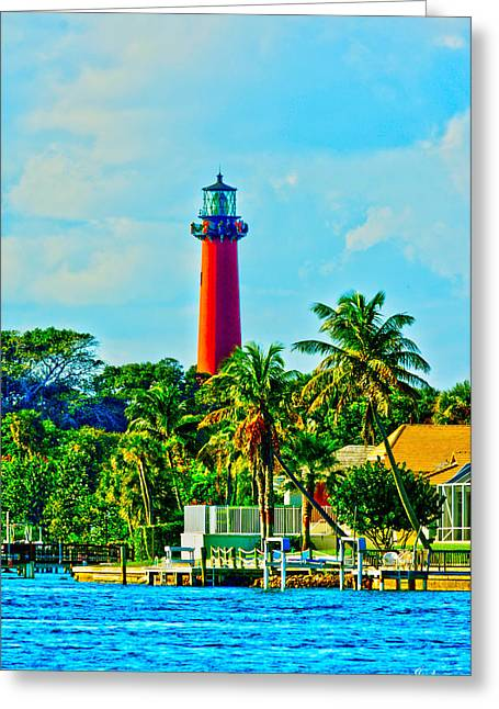 Jupiter Lighthouse Winter Greeting Card