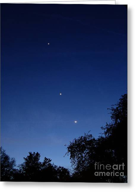 Jupiter, Venus & Moon Conjunction, 22412 Greeting Card by John Chumack