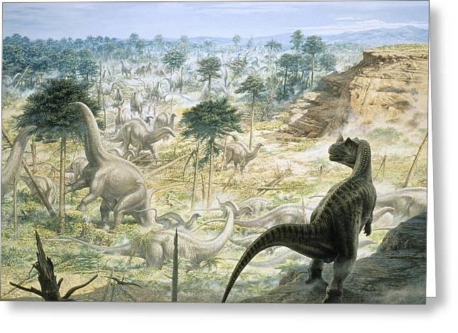 Jurassic Dinosaurs, Artwork Greeting Card by Science Photo Library