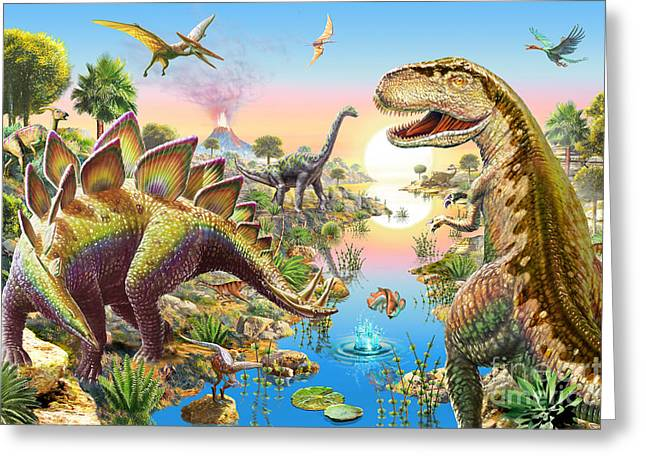 Jurassic River Greeting Card by Adrian Chesterman