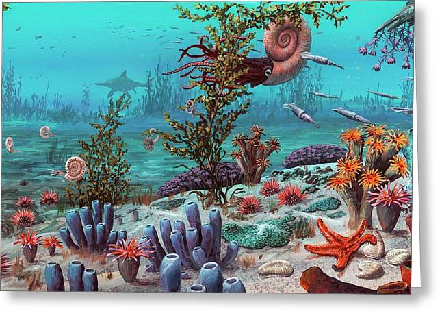Jurassic Underwater Scene Greeting Card