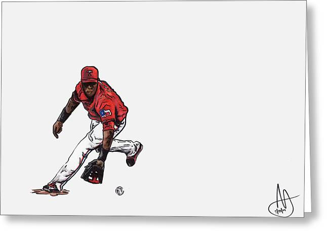 Jurickson Profar Greeting Card by Joshua Sooter