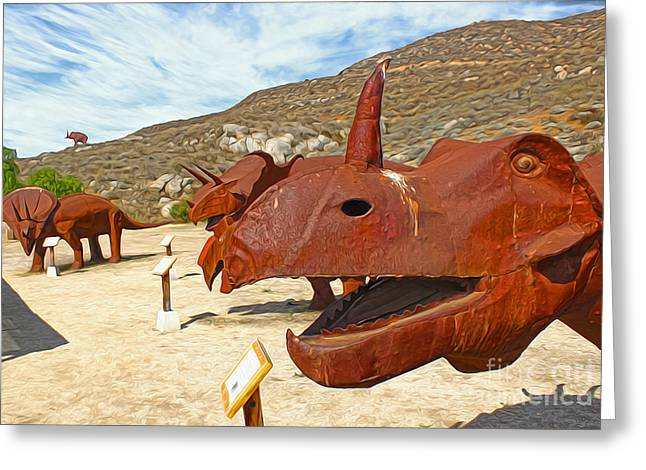 Jurupa Dinosaurs - Triceratops Group Greeting Card by Gregory Dyer