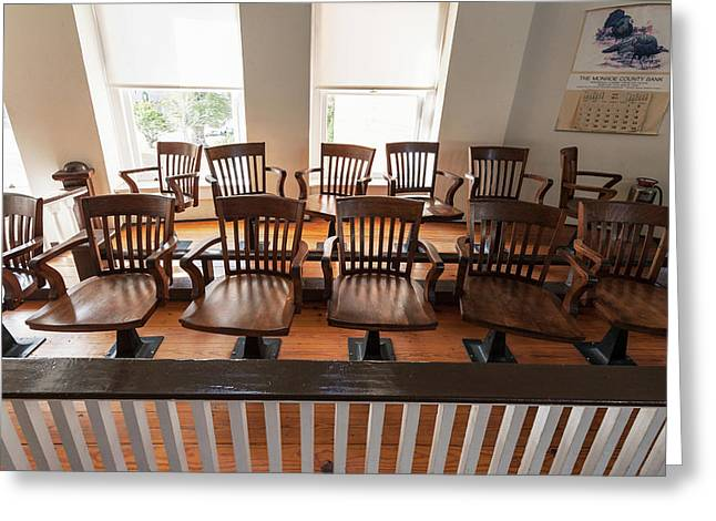Jury Box In The Courtroom Of The Old Greeting Card by Panoramic Images