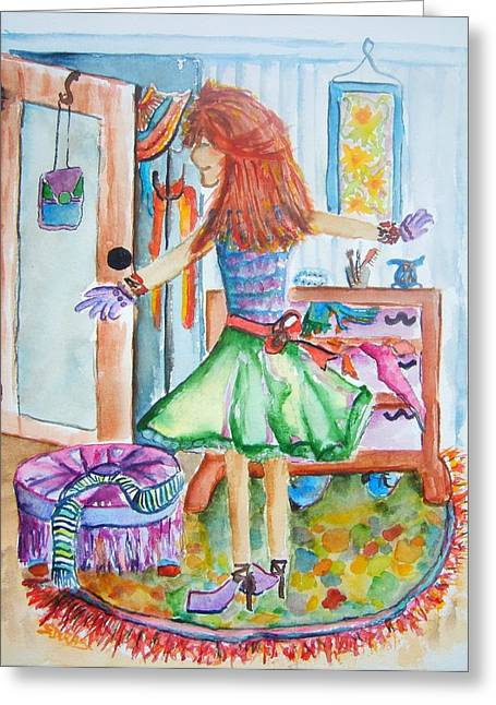 City Girl Gets Ready Greeting Card by Elaine Duras