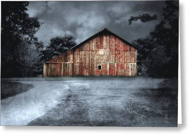 Night Time Barn Greeting Card