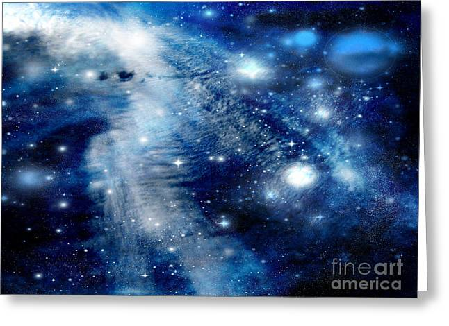 Greeting Card featuring the digital art Just Beyond The Moon by Janice Westerberg