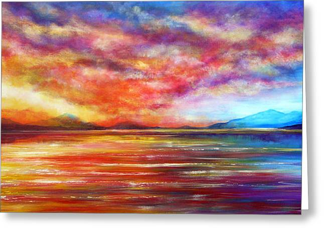 Just Beyond The Sunset Greeting Card by Ann Marie Bone