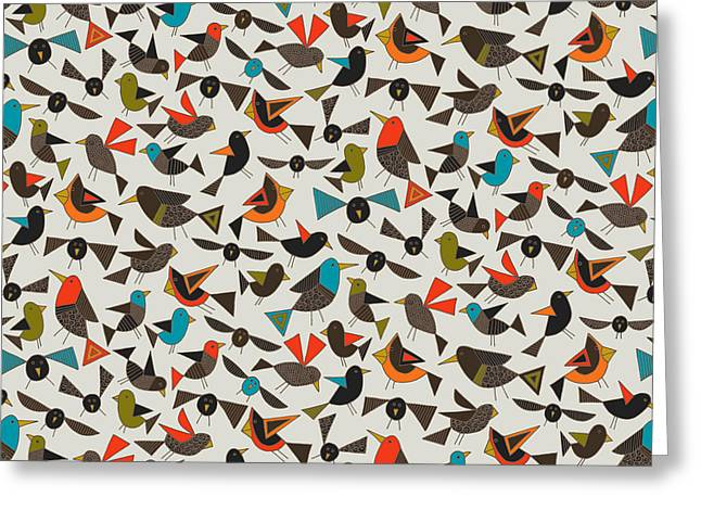 Just Birds China White Greeting Card by Sharon Turner