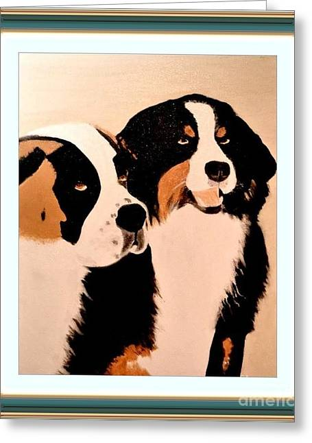 Greeting Card featuring the painting Just Friends by Denise Tomasura