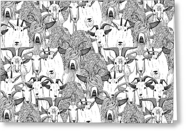 Just Goats Black White Greeting Card by Sharon Turner