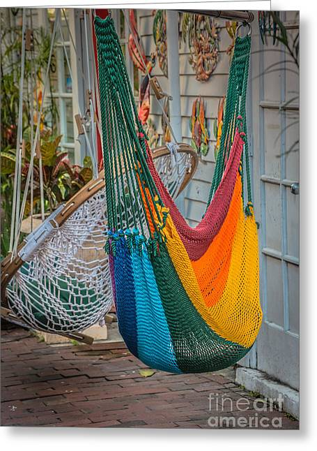 Just Lazin - Hammocks Key West - Hdr Style Greeting Card by Ian Monk