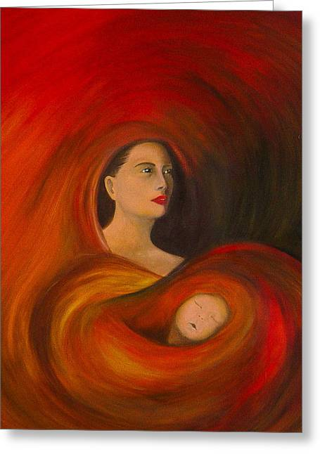 Greeting Card featuring the painting ..just  Love.. by Fanny Diaz