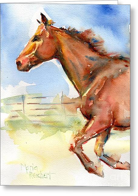Horse Running Just Passing Through Greeting Card by Maria's Watercolor