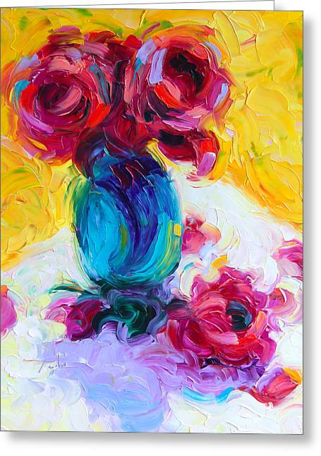 Just Past Bloom - Roses Still Life Greeting Card