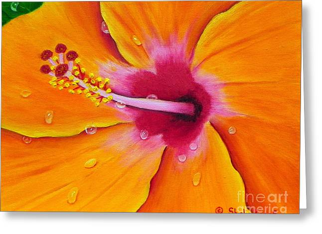 Greeting Card featuring the painting Just Peachy - Hibiscus Flower  by Shelia Kempf