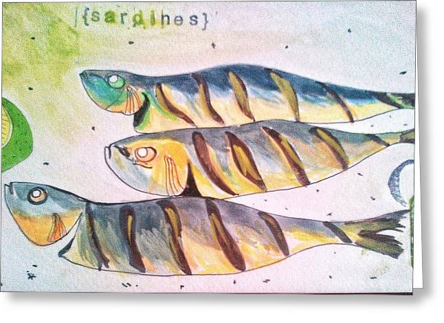 Just Sardines Greeting Card by Olivier Calas