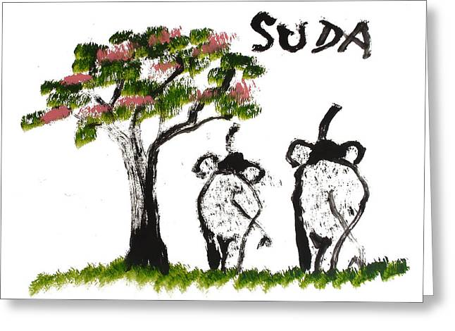 Prints - Elephant Paintings - Just The Two Of Us Pink Version Greeting Card by Phongsri Smeaton