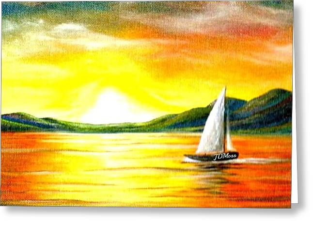Justa Sailing Greeting Card by Janet Moss