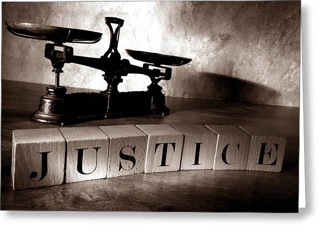 Justice For All Greeting Card by Olivier Le Queinec