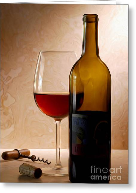 Justin Wine Painting Greeting Card by Jon Neidert