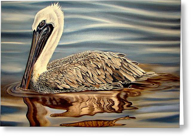 Greeting Card featuring the painting Juvenile Pelican by Phyllis Beiser