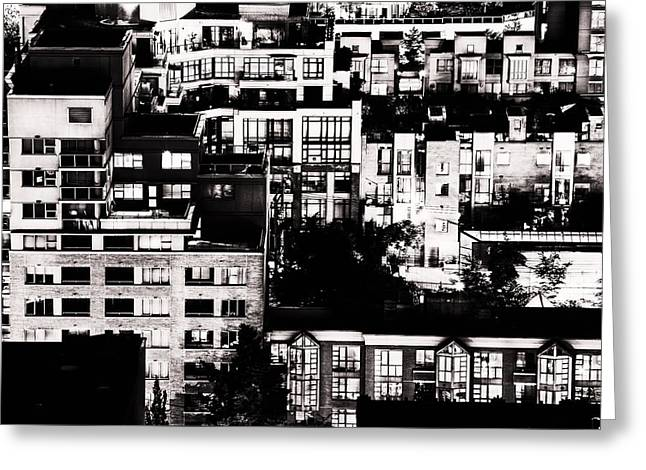 Greeting Card featuring the photograph Black And White - Juxtaposed And Intimate Vancouver View At Night - Fineart Cards by Amyn Nasser