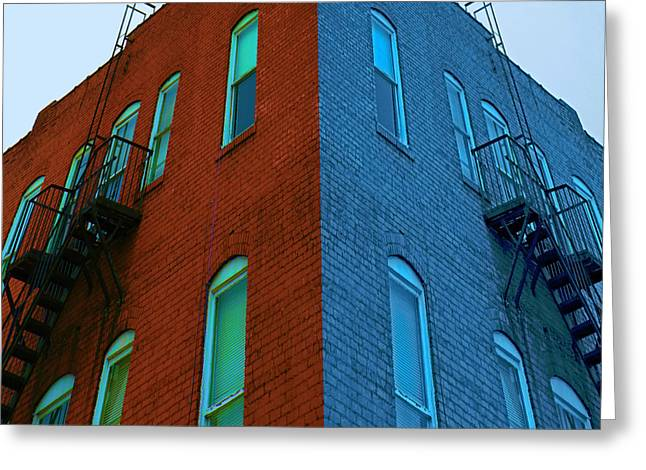 Juxtaposition - Old Building Greeting Card by Denise Beverly