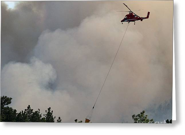 Greeting Card featuring the photograph K-max Helicopter On Myrtle Fire by Bill Gabbert