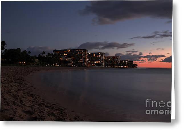 Ka'anapali Beach At Night Maui Hawaii Greeting Card