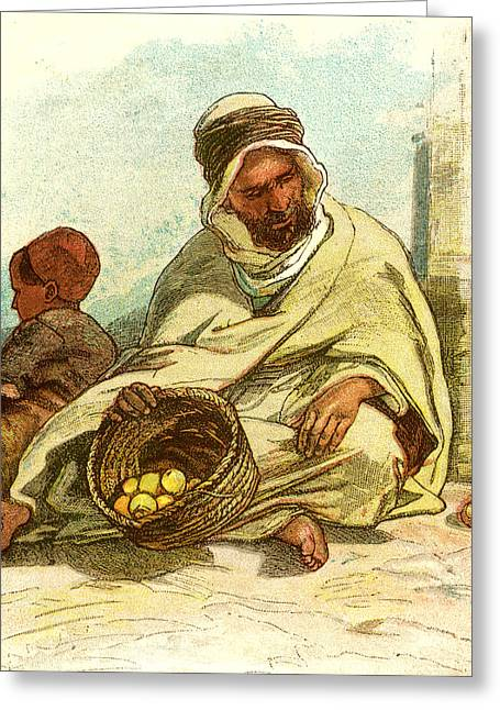 Kabyle Selling Lemons Algiers 1885 Greeting Card by English School