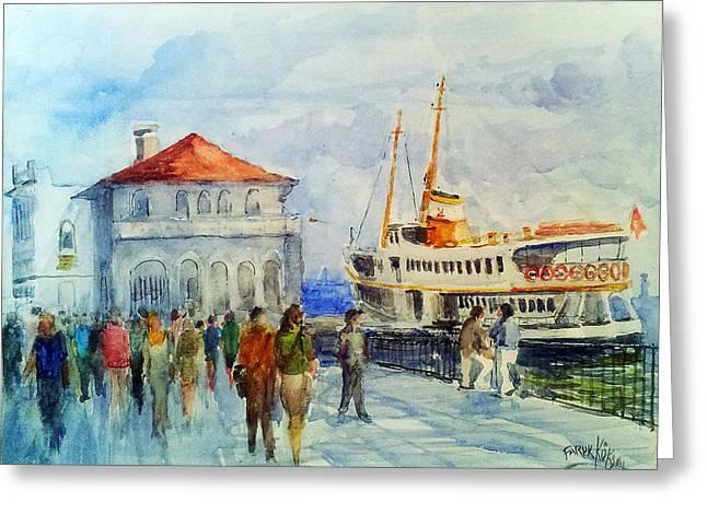 Kadikoy Ferry Arrives Greeting Card