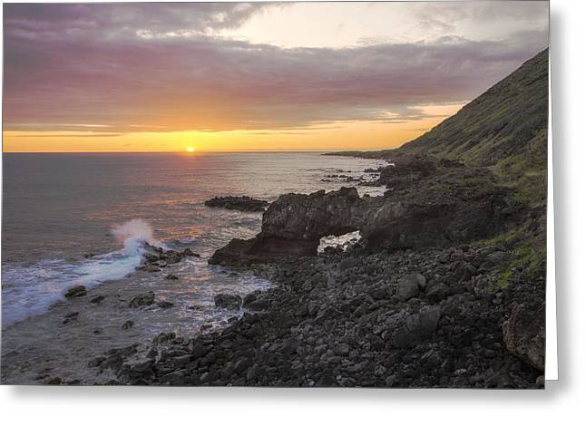 Kaena Point Sea Arch Sunset - Oahu Hawaii Greeting Card by Brian Harig