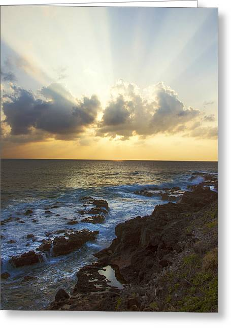 Kaena Point State Park Sunset 3 - Oahu Hawaii Greeting Card by Brian Harig