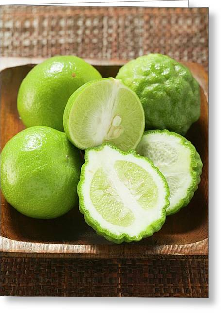 Kaffir Limes And Limes In Wooden Bowl Greeting Card