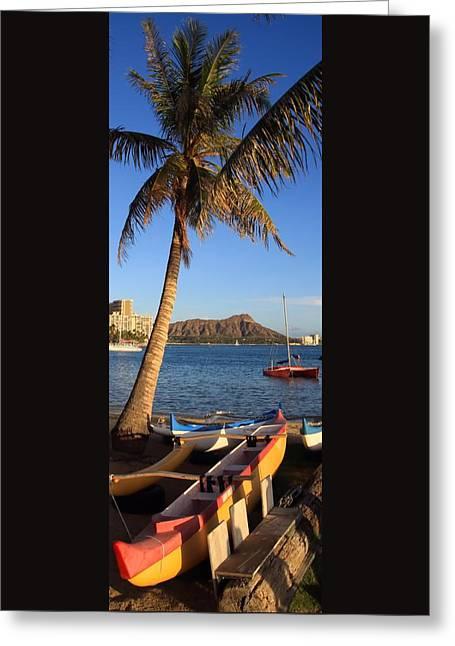 Kahanamoku Beach Greeting Card by DJ Florek