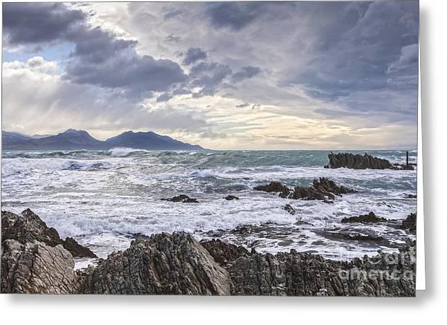 Kaikoura New Zealand In Stormy Weather Greeting Card