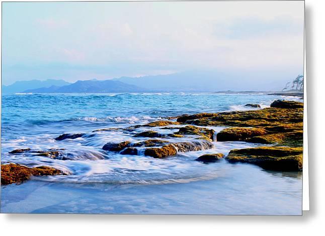 Kailua Bay Shoreline Greeting Card by Saya Studios