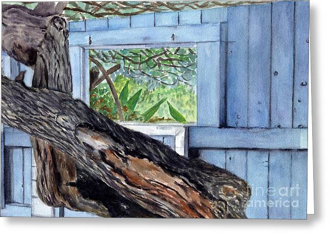Greeting Card featuring the painting Kailua Beach House by Mukta Gupta