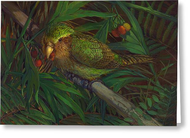 Kakapo Nighttime Feeding Greeting Card by ACE Coinage painting by Michael Rothman